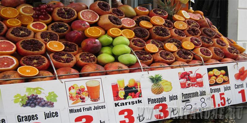 Свежевыжатые соки в Стамбуле
