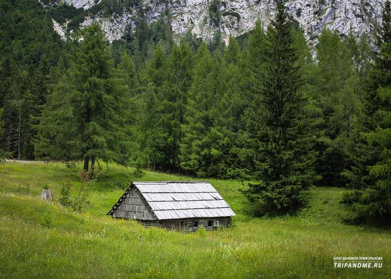Живописное место в горах по дороге к перевалу Вршич