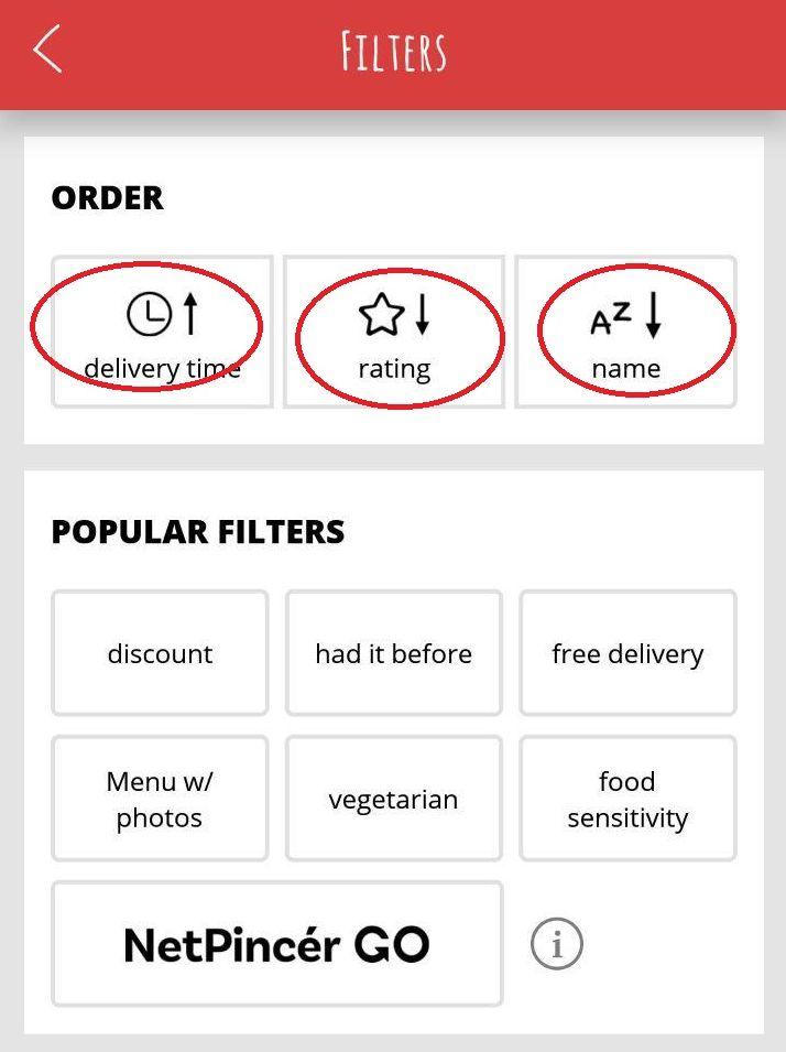 Фильтры по выбору ресторана