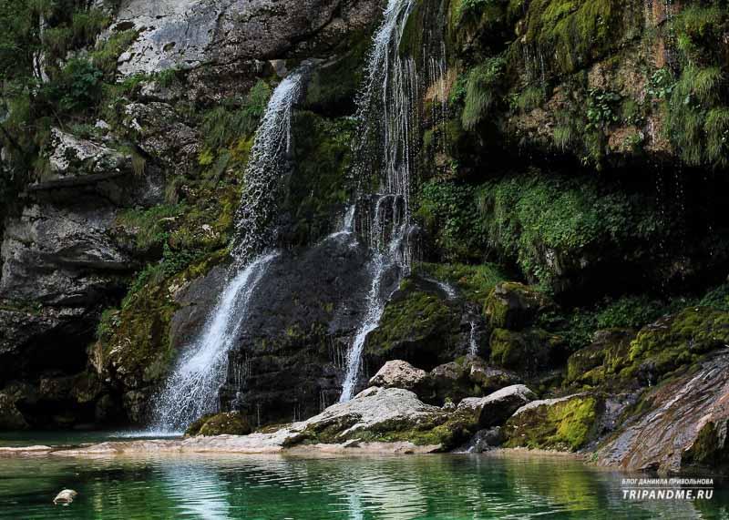 В Нацпарке Триглав находится большое количество водопадов