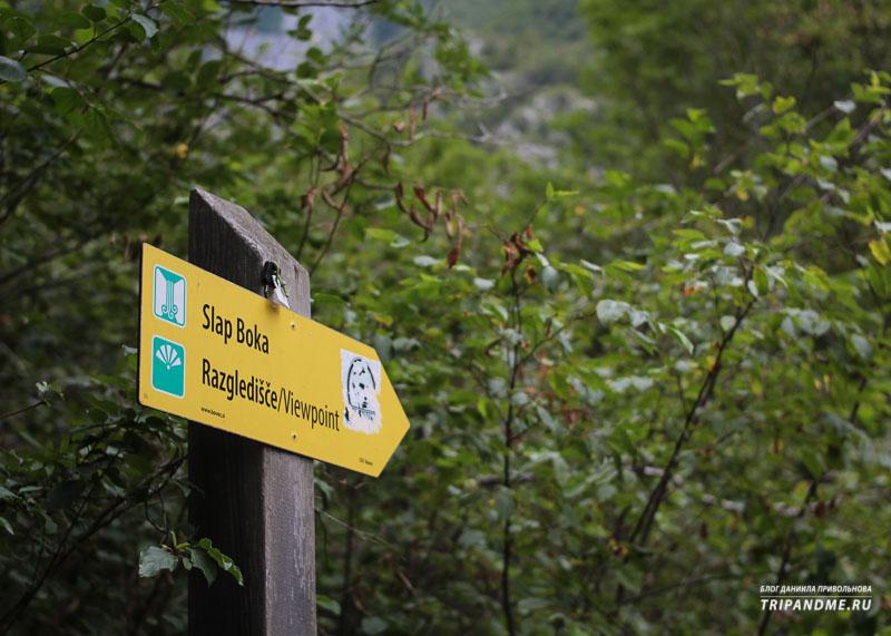 Указатель на водопад Бока в Словении