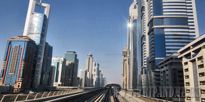 Дубайские небоскребы по ходу движения метро