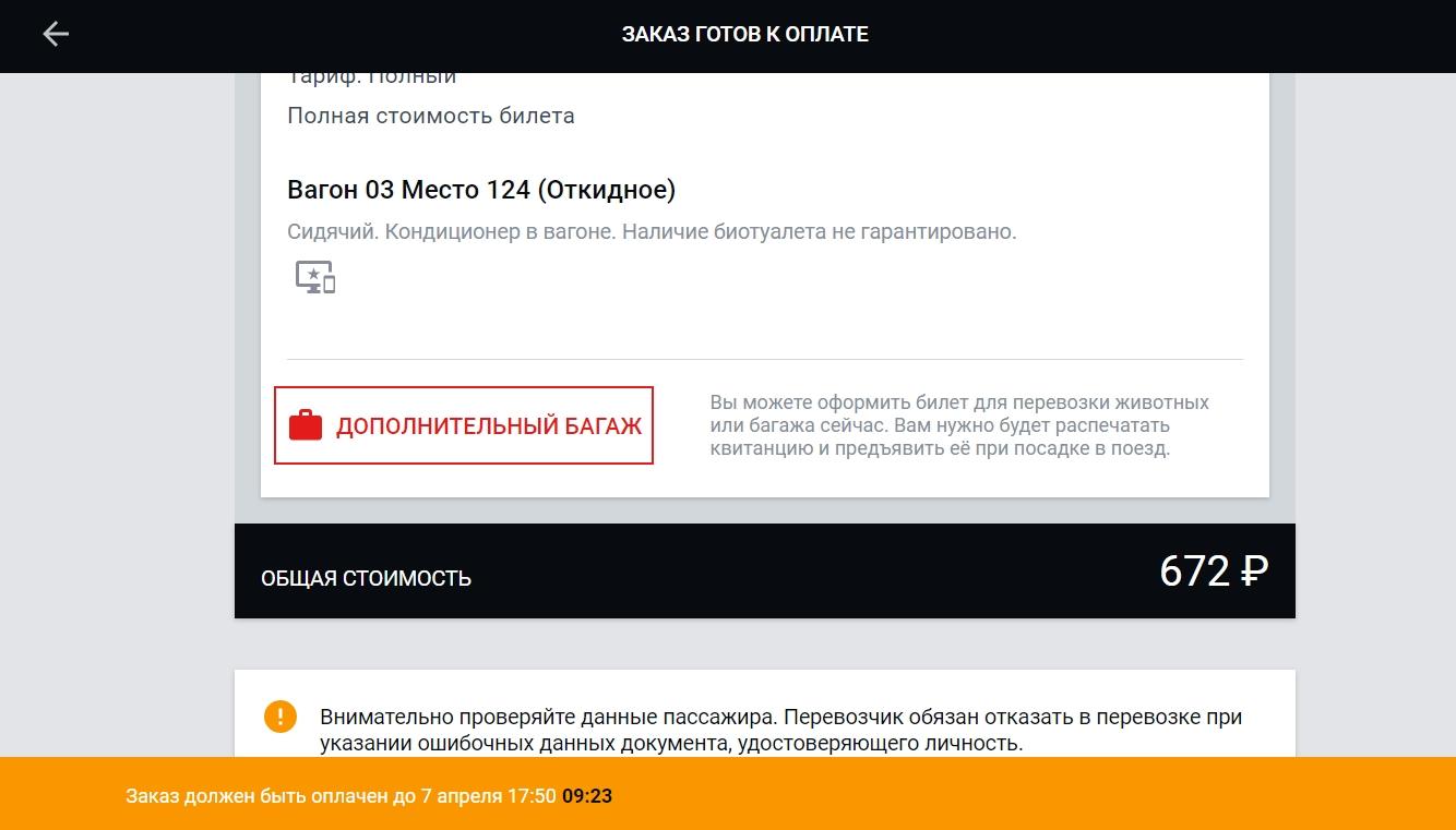 На оплату билета РЖД онлайн дается 10 минут