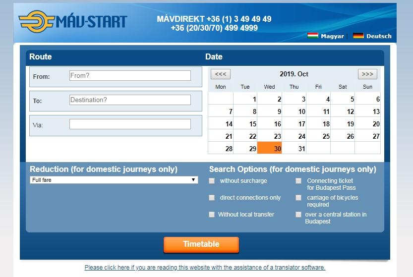 Сайт для покупки билета на поезд в Братиславу