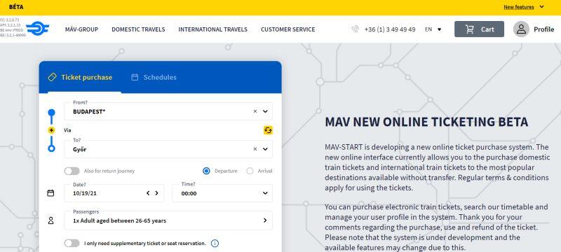 Сайт по покупке жд билетов в Венгрии