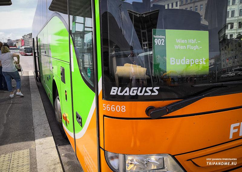Автобус FlixBus из Будапешта в Вену