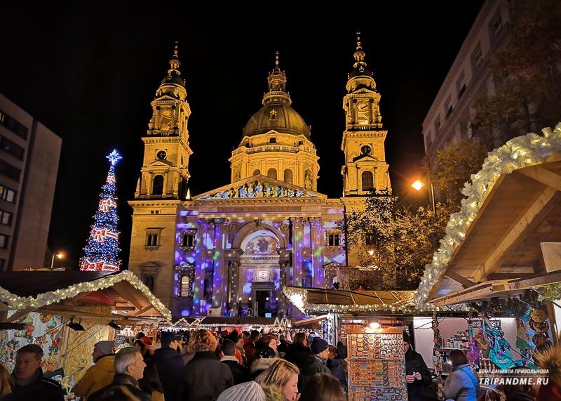 Световое шоу на фасаде Базилики Будапешта