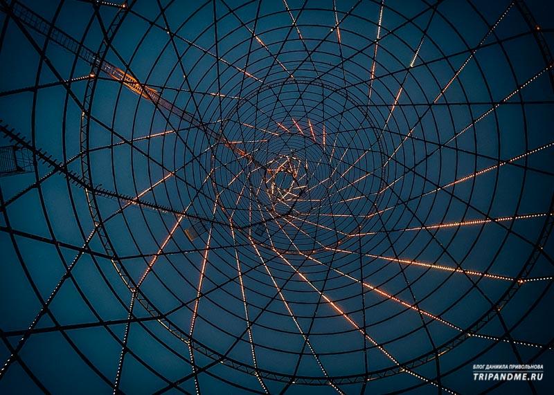 Фото Шуховской башни снизу верх