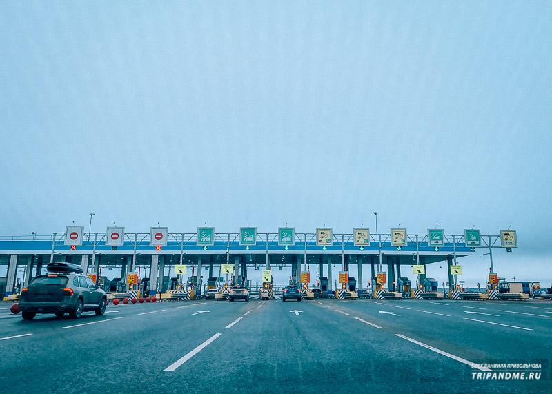 Полосы для проезд по транспондера отмечены зеленым цветом