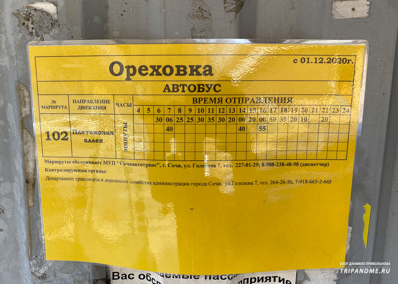 Расписание движения автобуса