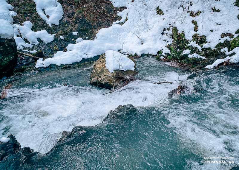 Змейковские водопады в середине февраля