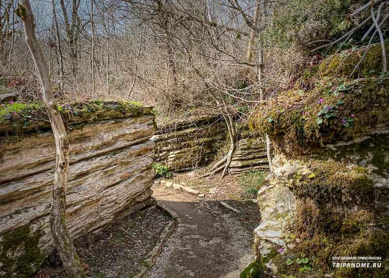 Дорожка петляет прямо посреди скал