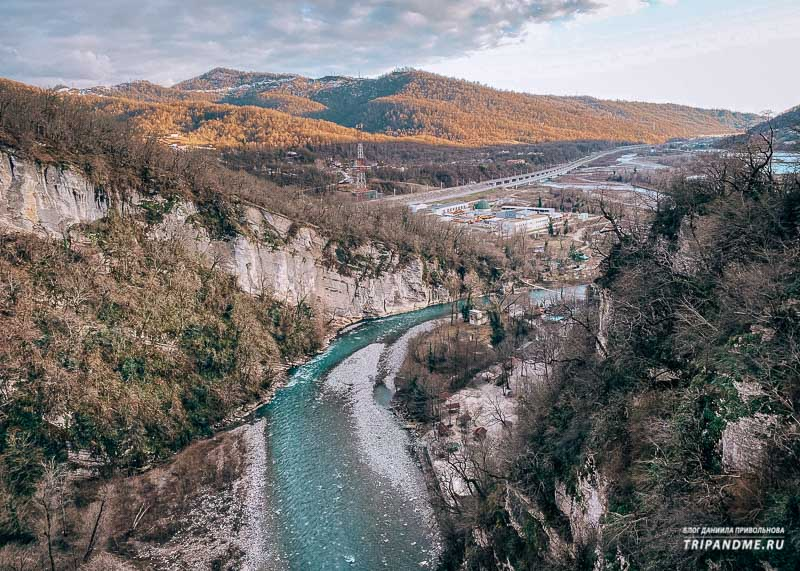 Вид на каньон и реку Мзымту