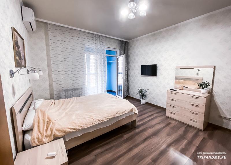 Спальня в съемной квартире в Новороссийске