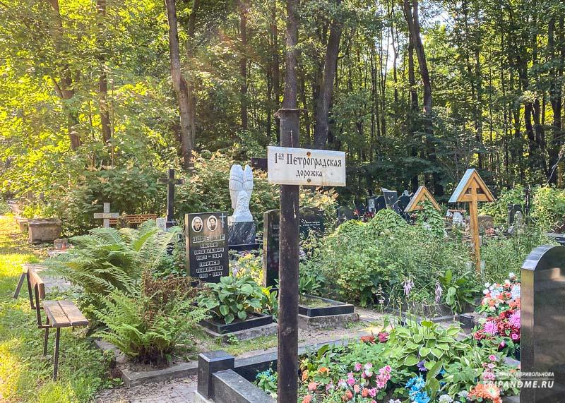 Кладбище разделено на дорожки