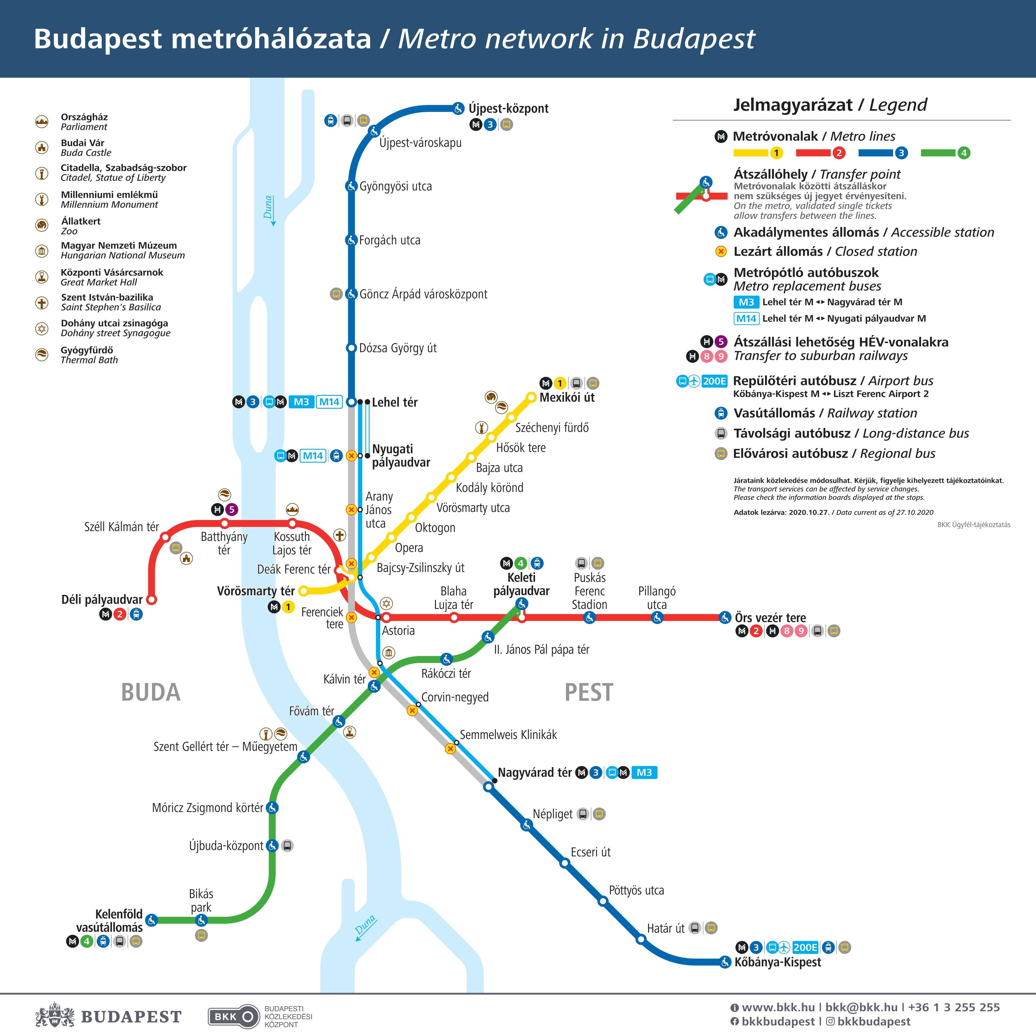 Карта метро Будапешта с ограничениями М3